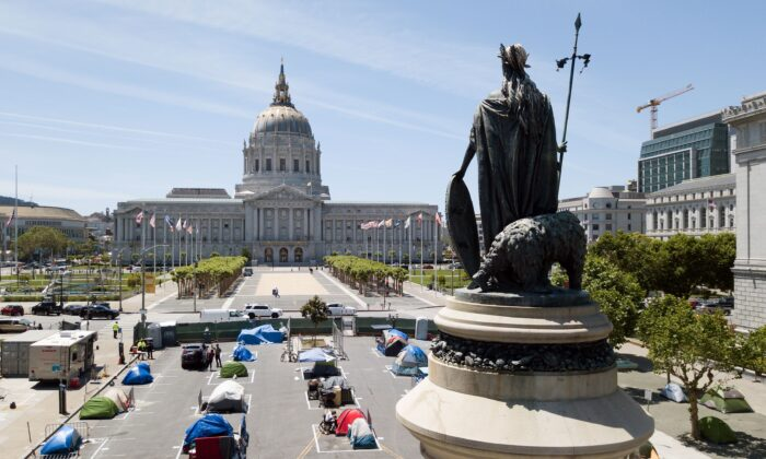 An aerial view shows a statue of Eureka looking over city-sanctioned homeless encampment across from City Hall in San Francisco, Calif., on May 22, 2020. (Josh Edelson/AFP via Getty Images)