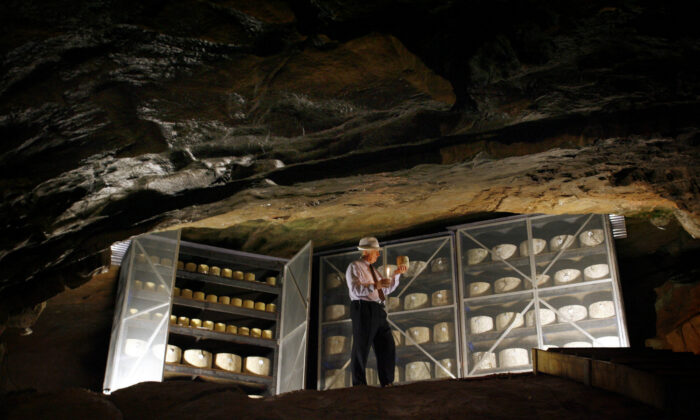 John Spencer inspects wheels of cheddar maturing in the ancient Cheddar Gorge caves. The cheddar matured here, Katherine Spencer says, is creamier than other more mature cheeses, as the humidity in the caves is so high. (Courtesy of Cheddar Gorge Cheese Company)