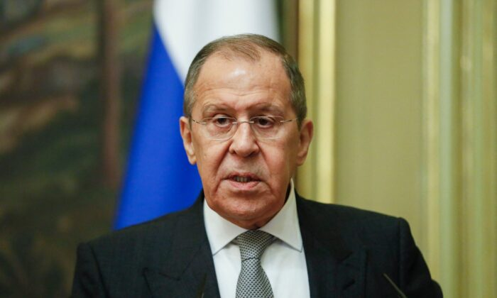 Russian Foreign Minister Sergei Lavrov attends a press conference in Moscow, on April 28, 2021. (Yuri Kochetkov/POOL/AFP via Getty Images)
