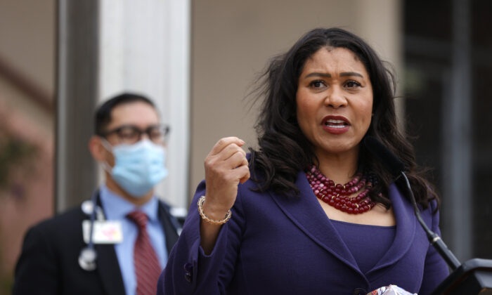 San Francisco Mayor London Breed speaks during a news conference outside of Zuckerberg San Francisco General Hospital in San Francisco, Calif., on March 17, 2021. (Justin Sullivan/Getty Images)