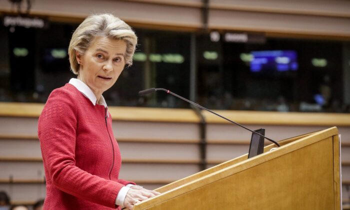 European Commission President Ursula von der Leyen delivers a speech during the debate on EU–UK trade and cooperation agreement during the second day of a plenary session at the European Parliament in Brussels, on April 27, 2021. (Olivier Hoslet/Pool/AFP via Getty Images)