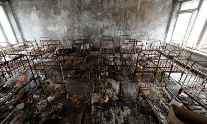 Children's beds are seen in a kindergarten near the Chernobyl Nuclear Power Plant in the abandoned city of Pripyat, Ukraine, on April 12, 2021. (Gleb Garanich/Reuters)