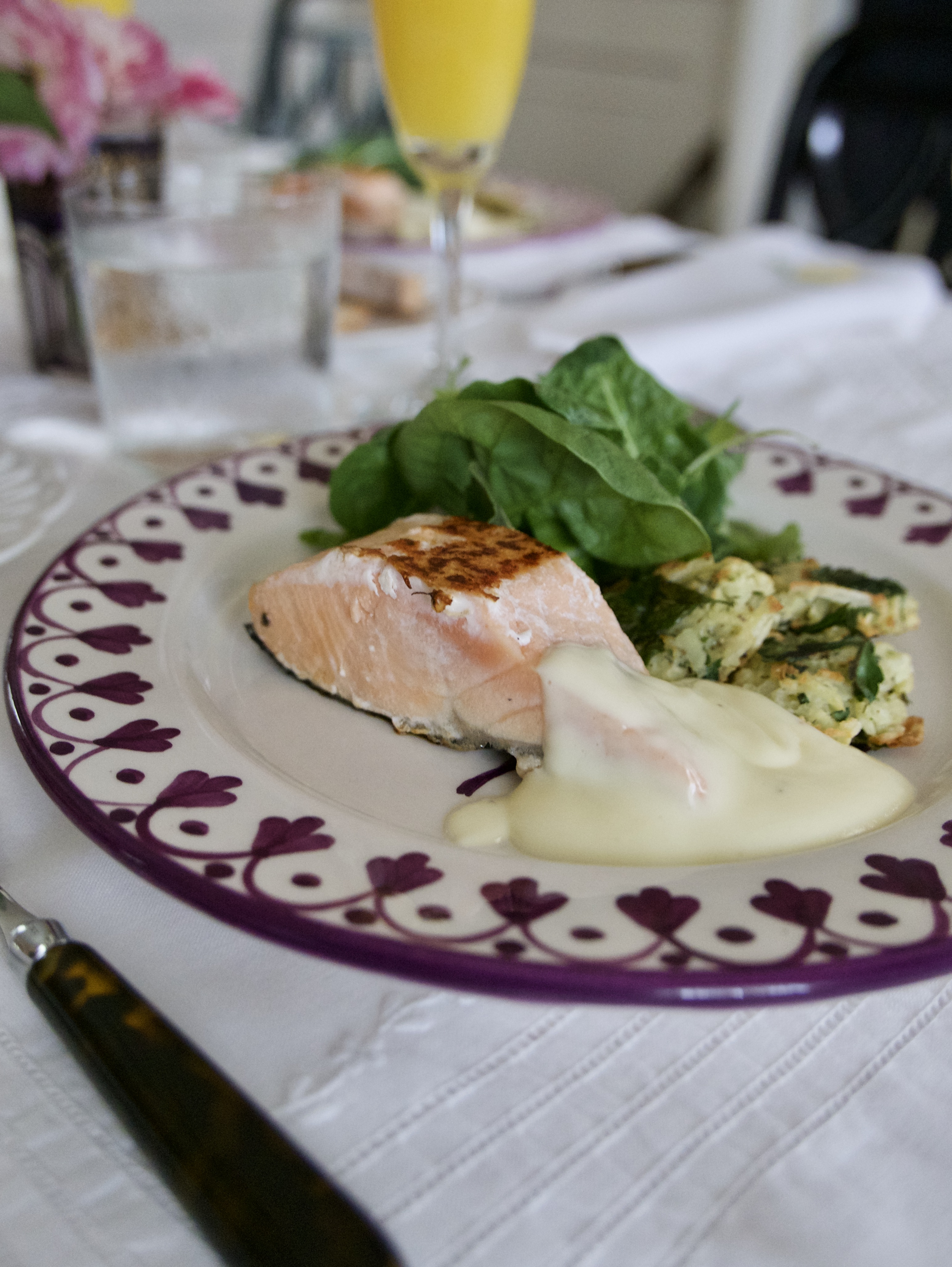 salmon with faux hollandaise