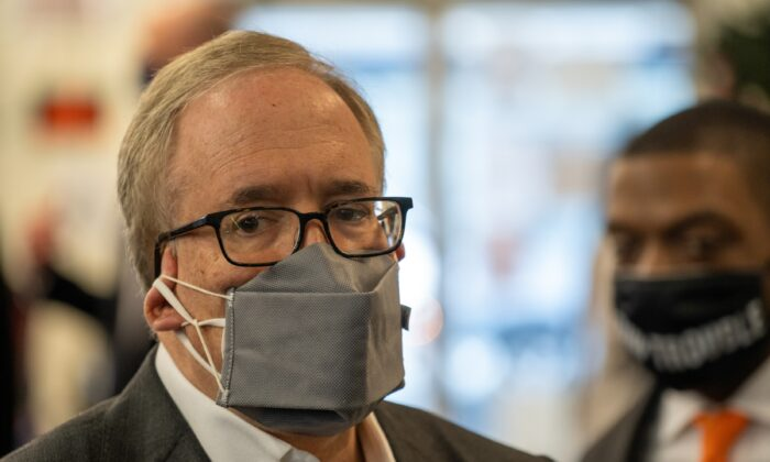 New York City Comptroller and New York City mayoral candidate Scott Stringer attends a press conference in New York City on March 18, 2021. (David Dee Delgado/Getty Images)