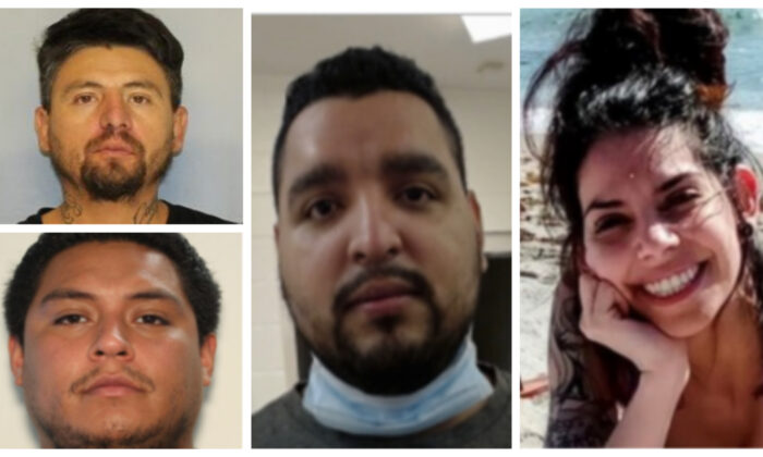 Megan Colone (R), Mario Barbosa-Juarez (C), Juan Ayala-Rodriguez (top L), and Oscar Garcia (bottom L) are murder suspects in the killing of 37-year-old Rossana Delgado, for which a manhunt is underway as of April 24, 2021. (Courtesy of the Georgia Bureau of Investigation)