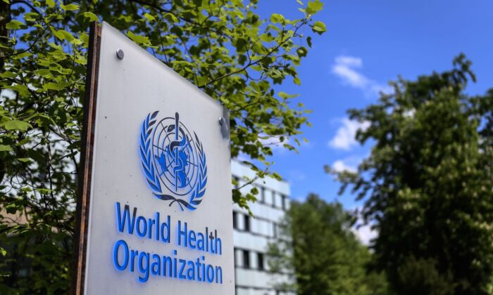 A sign of the World Health Organization in Geneva, Switzerland, on April 24, 2020. (Fabrice Coffrini/AFP via Getty Images)