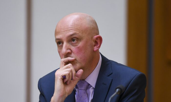 Director-General of ASIO, Mike Burgess appears before a Senate inquiry at Parliament House in Canberra, Australia on April 29, 2021. (AAP Image/Lukas Coch)