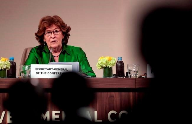 Then Special Representative of the United Nations Secretary-General for International Migration, Louise Arbour speaks during a press briefing after the closing session of the UN Migration Conference in Marrakech, Morocco, on Dec. 11, 2018. (AP Photo/Mosa'ab Elshamy)