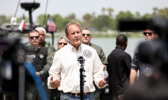 Texas Attorney General Ken Paxton at a press conference in Anzalduas Park near McAllen, Texas, on April 28, 2021. (Charlotte Cuthbertson/The Epoch Times)