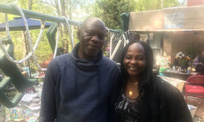Nehemiah and Tassie Ghata at a cookout in Bowie, Maryland, on April 25, 2021. (The Epoch Times)