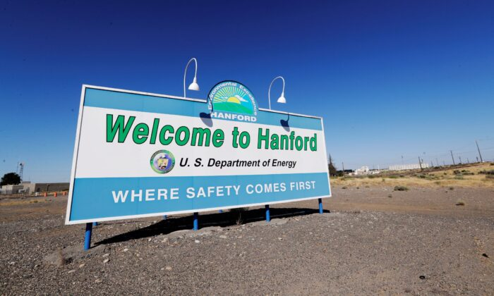 A sign at the Hanford Nuclear Reservation is posted near Richland, Wash., on Aug. 13, 2019. (Elaine Thompson/AP Photo File)