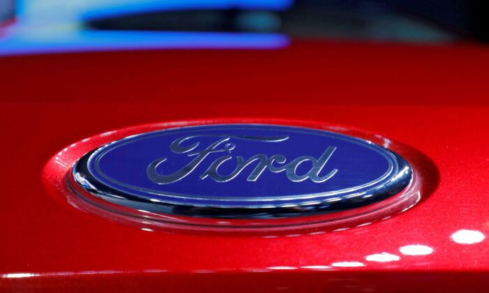 The logo is seen on the bonnet of a new Ford Aspire car during its launch in New Delhi, India, on Oct. 4, 2018. (Anushree Fadnavis/Reuters)
