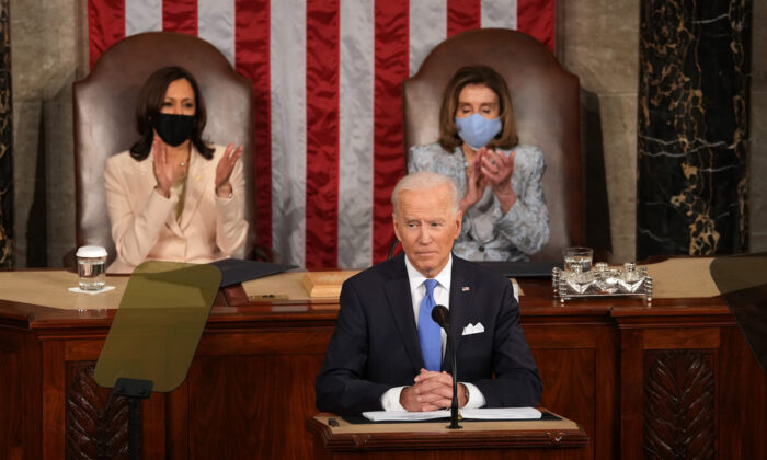 President Joe Biden delivers an address to a joint session of Congress at the Capitol in Washington on April 28, 2021. (Doug Mills/Pool/Getty Images)