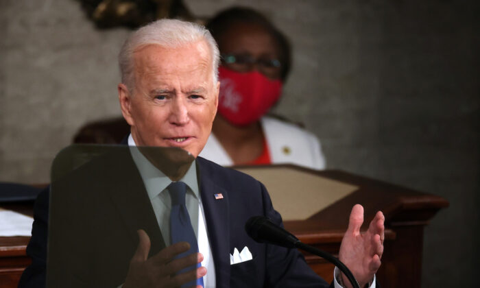 President Joe Biden addresses a joint session of congress in the House chamber of the Capitol in Washington, on April 28, 2021. (Chip Somodevilla/Getty Images)