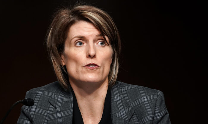 Jill Sanborn, assistant director of the FBI's Counterterrorism Division, testifies to Congress in Washington on March 3, 2021. (Greg Nash/Pool/AFP via Getty Images)