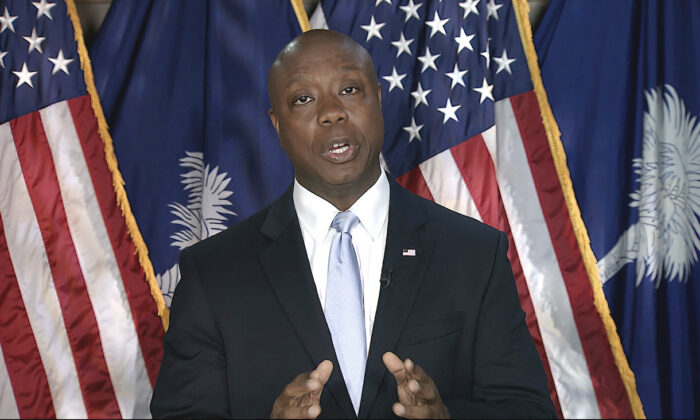 In this image from Senate Television video, Sen. Tim Scott (R-S.C.) delivers the Republican response to President Joe Biden's speech to a joint session of Congress in Washington, on April 28, 2021. (Senate Television via AP)
