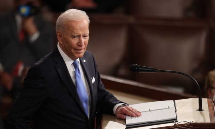 President Joe Biden addresses a joint session of Congress in the House chamber of the U.S. Capitol in Washington, on April 28, 2021. (Jonathan Ernst-Pool/Getty Images)