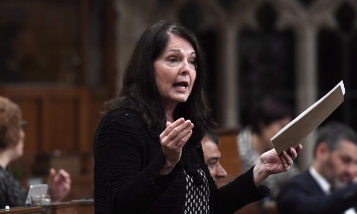 Conservative MP Cathay Wagantall speaks in the House of Commons on Parliament Hill in Ottawa on May 4, 2018. (The Canadian Press/Justin Tang)