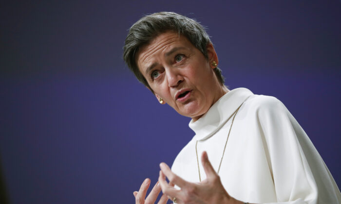 European Commissioner for Europe fit for the Digital Age Margrethe Vestager speaks during a news conference on European project in battery value chain at the European Commission headquarters in Brussels, Jan 26, 2021 (Francisco Seco/AP)