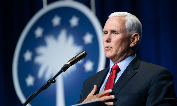Former Vice President Mike Pence speaks to a crowd during an event sponsored by the Palmetto Family organization in Columbia, S.C., on April 29, 2021. (Sean Rayford/Getty Images)