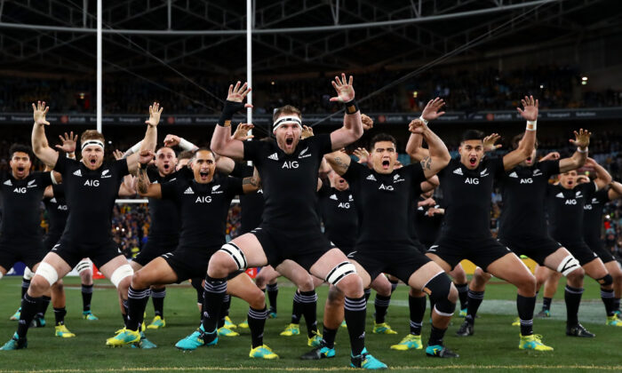 Kieran Read of the All Blacks and teammates perform the Haka during the Rugby Championship Bledisloe Cup match between the Australian Wallabies and the New Zealand All Blacks at ANZ Stadium on August 18, 2018, in Sydney. (Cameron Spencer/Getty Images)