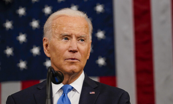 President Joe Biden addresses a joint session of Congress in the House chamber of the U.S. Capitol in Washington on April 28, 2021. (Melina Mara/Pool/Getty Images)