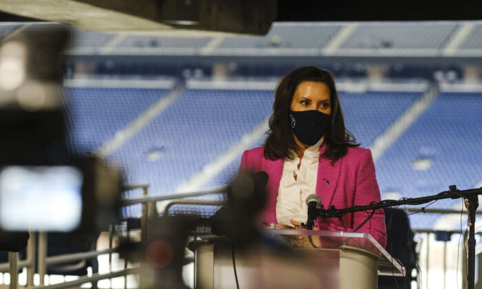 Michigan Governor Gretchen Whitmer speaks to members of the press at Ford Field in Detroit, Michigan, on April 6, 2021. (Matthew Hatcher/Getty Images)