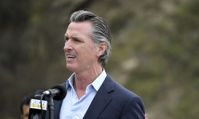 California Gov. Gavin Newsom speaks during a press conference in Big Sur, Calif., on April 23, 2021. (Nic Coury/File Photo via AP)