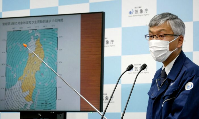 Japan Meteorological Agency's director of earthquake and tsunami observation division Shinya Tsukada speaks during a press conference, after a 6.8-magnitude earthquake struck off country's northeastern coast, in Tokyo, on May 1, 2021. (Str/Jiji Press/AFP via Getty Images)