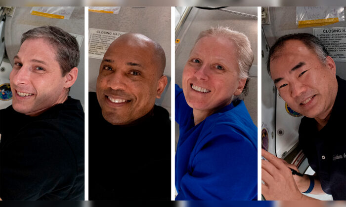 From left, Expedition 64 Flight Engineers and SpaceX Crew-1 members Michael Hopkins, Victor Glover, Shannon Walker and Soichi Noguchi. (NASA via AP)
