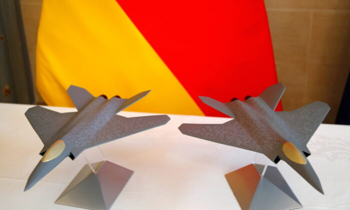 Scale models of the Franco-German-Spanish Future Combat Air System (FCAS), Europe's next-generation fighter jet, are seen in Paris, France, on Feb. 20, 2020. (Charles Platiau/Reuters)