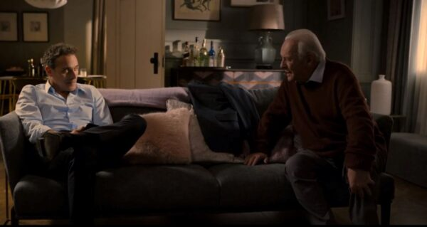 man and old man in living room