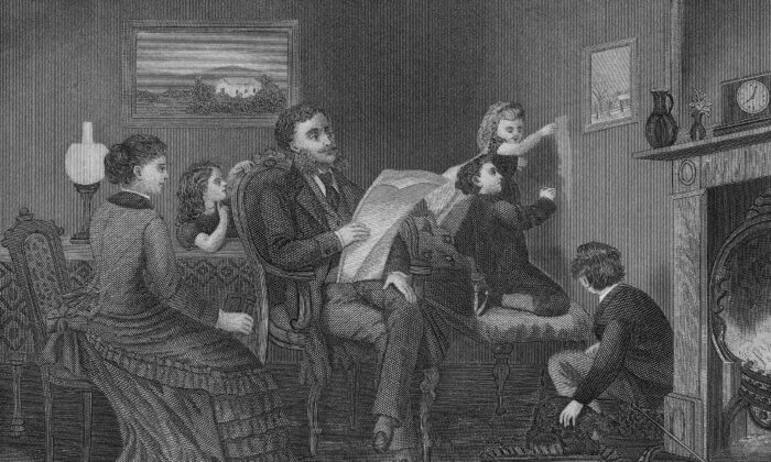 Reading has been a part of American family life from our founding. Etching from the mid 1800s. (Kean Collection/Getty Images)