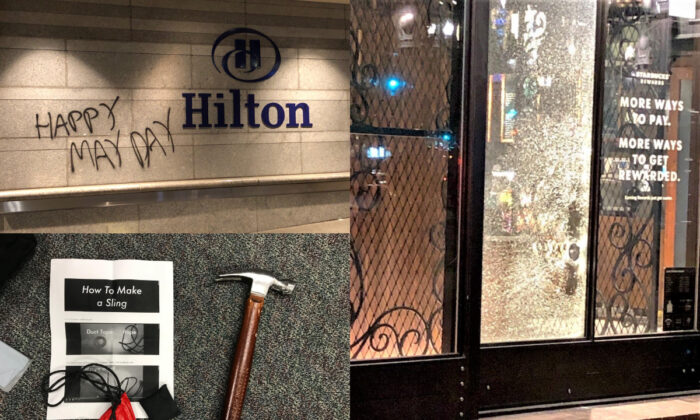 In this combination of photographs, damaged and vandalized buildings, and a hammer and slingshot found on a rioter, are seen in Portland, Ore., on May 1, 2021. (Portland Police Bureau)