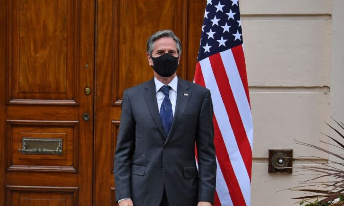 Secretary of State Antony Blinken ahead of the G7 foreign ministers meeting in London on May 3, 2021. (Ben Stansall/various sources/AFP via Getty Images)
