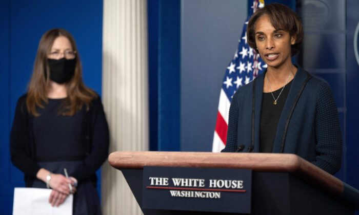 Chair of the Council of Economic Advisers Cecilia Rouse, with member of the Council of Economic Advisers Heather Boushey, speaks during the daily press briefing at the White House in Washington, on March 24, 2021. (Jim Watson/AFP via Getty Images)