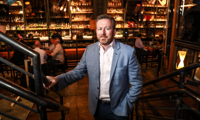 Mark Fox, owner of The Ragtrader & Bo Peep Cocktail and Highball Store in New York City on April 29, 2021. (Samira Bouaou/The Epoch Times)