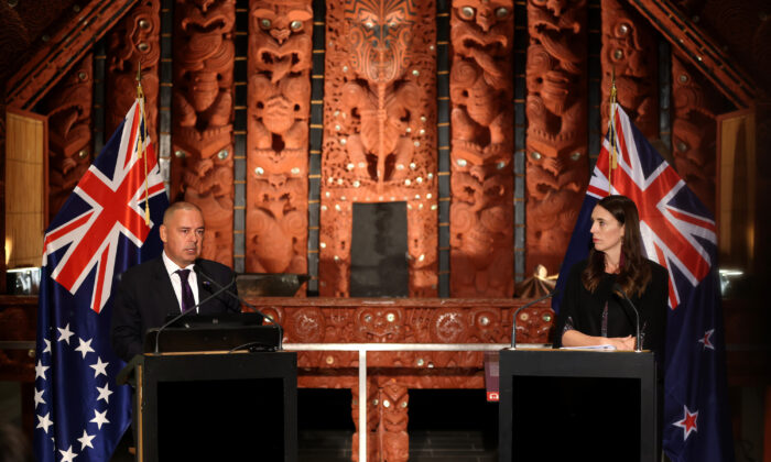 New Zealand Prime Minister Jacinda Ardern (R) and Cook Islands Prime Minister Mark Brown (L) hold a joint press conference at the Auckland War Memorial Museum in Auckland, New Zealand on March 26, 2021.(Phil Walter/Getty Images)