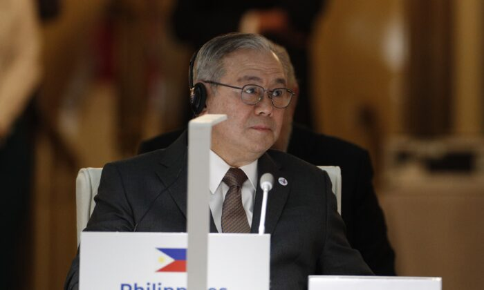 Philippine Foreign Minister Teodoro Locsin attends the 14th ASEM Foreign Ministers Meeting at the Royal Palace of El Pardo near Madrid, Spain, on Dec. 16, 2019. (Javier Lizon/various sources/AFP via Getty Images)