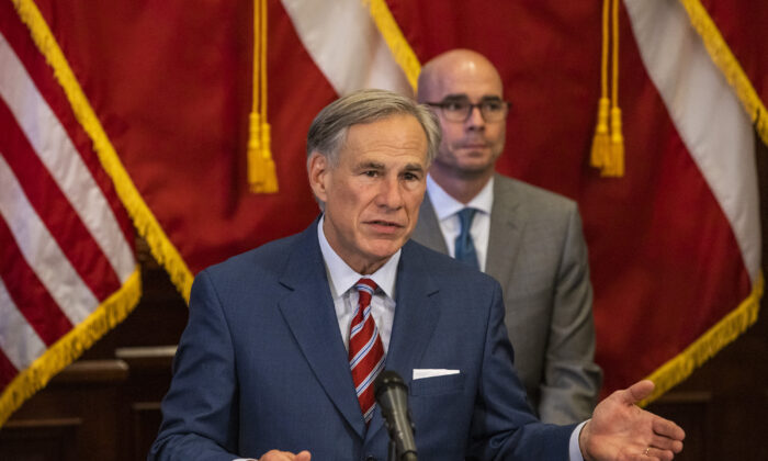 Texas Gov. Greg Abbott announces the reopening of more Texas businesses during the COVID-19 pandemic at a press conference at the Texas State Capitol in Austin, Texas, on May 18, 2020. (Lynda M. Gonzalez-Pool/Getty Images)