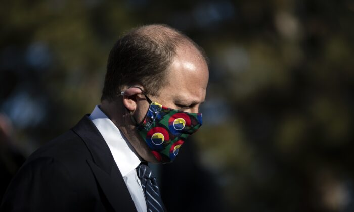 Colorado Gov. Jared Polis is seen at a press conference in Boulder, Colo., on March 23, 2021. (Chet Strange/Getty Images)