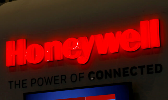 A logo of Honeywell on its booth during the European Business Aviation Convention and Exhibition (EBACE) in Geneva, Switzerland, on May 22, 2017. (Denis Balibouse/Reuters)