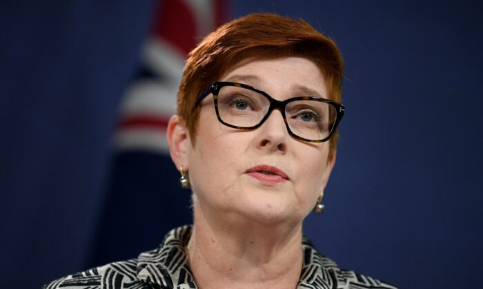 Foreign Minister Marise Payne along with Prime Minister Scott Morrison addresses media during a press conference in Sydney, Australia on April 27, 2021. (AAP Image/Dan Himbrechts)