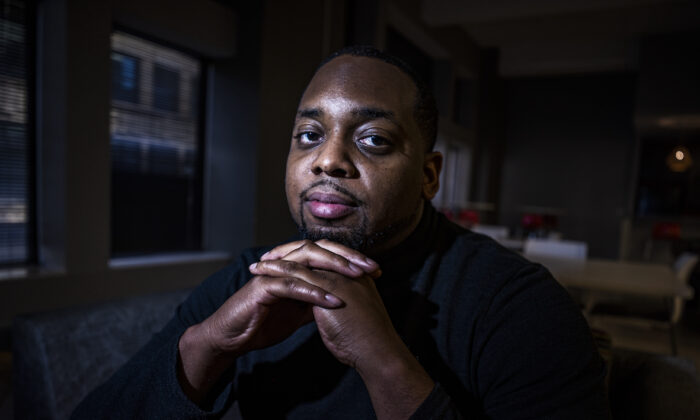Brandon Mitchell, a juror in the trial of former Minneapolis police Officer Derek Chauvin for the killing of George Floyd, poses for a picture, in Minneapolis on April 28, 2021. (Richard Tsong-Taatarii/Star Tribune via AP File)