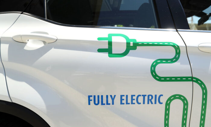 A general view of the stickers on an EV Automotive E3 Glory crossover SUV in a file photo. (Mark Kolbe/Getty Images)