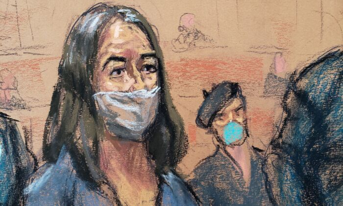 In this courtroom sketch, British socialite Ghislaine Maxwell appears during her arraignment hearing on a new indictment at Manhattan Federal Court in New York City, on April 23, 2021. (Jane Rosenberg/Reuters)