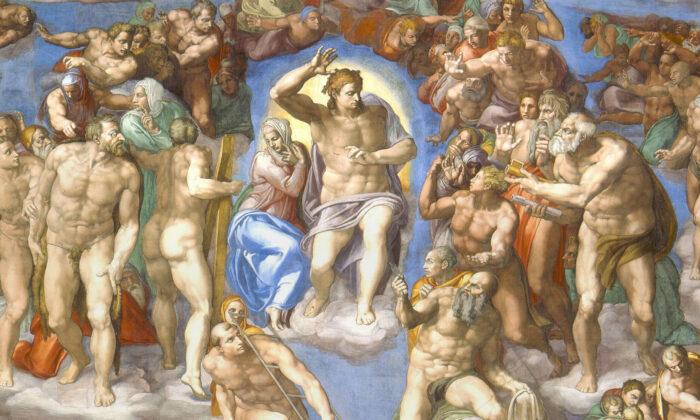 The Last Judgment byMichelangelo c.1536-1541. Fresco. Sistine Chapel, Vatican City (public domain)