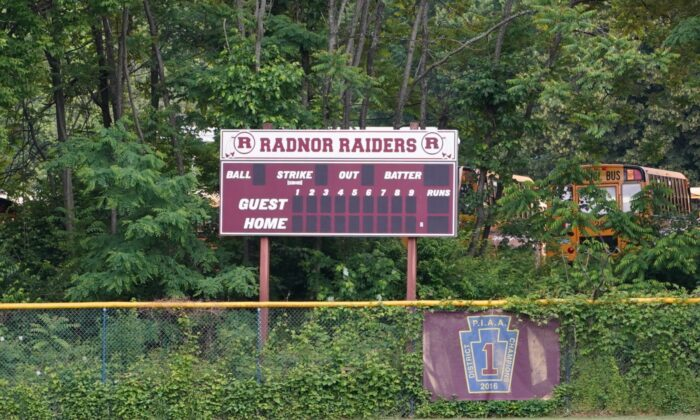 """The Sports Scoreboard with """"Radnor Raiders"""" on Radnor High School Campus (William Huang/The Epoch Times)"""