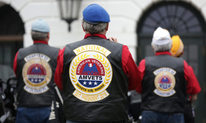 Bikers listen during a Rolling to Remember Ceremony: Honoring Our Nation's Veterans and POW/MIA at the White House in Washington, D.C., on May 22, 2020. (Alex Wong/Getty Images)