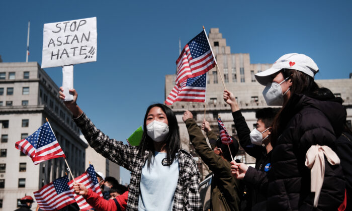 People participate in a protest to demand an end to anti-Asian violence in New York City, on April 4, 2021. (Spencer Platt/Getty Images)